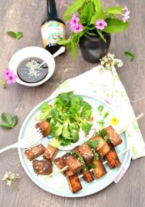 Brochettes de tofu marinées au Kelpamare